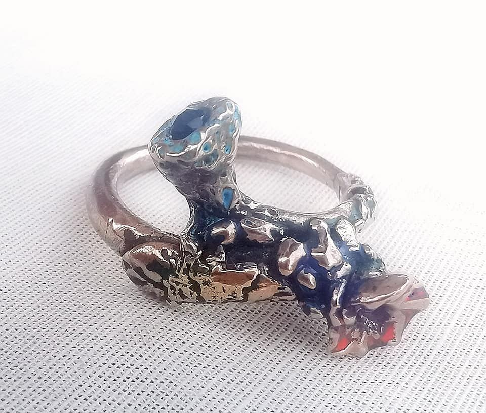 "Goldbronze-Ring ""Coille flowers"""