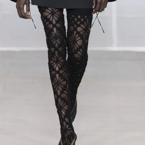 DONNA Les Boutiques - Hand knitted chunky wool lace stockings