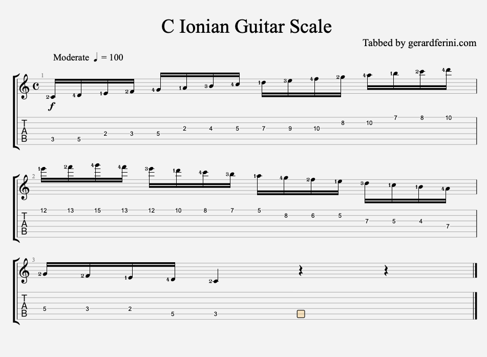C ionian scale for guitar